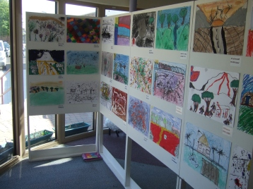 Exhibition of childrens works on paper, sharing achievements with the school and parents.