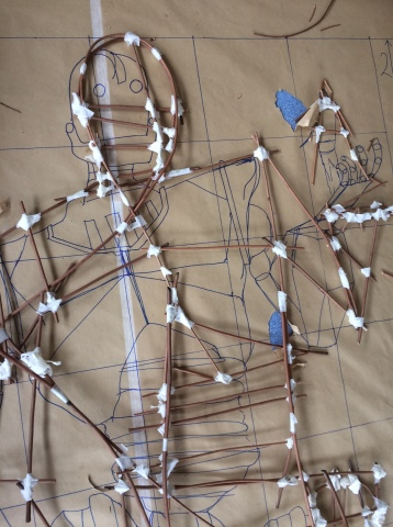Scale drawing and willow structure inspired by Ted Huges's Iron Man.