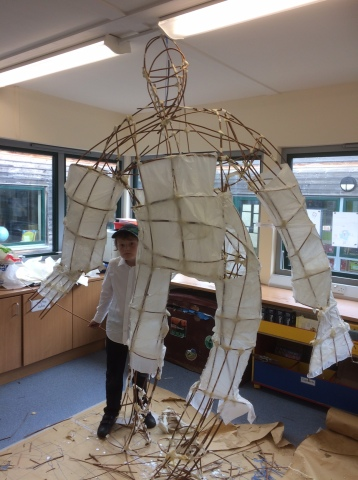 Willow sculpture created with 60 Year 4 children for a Ted Hughes Iron Man project.