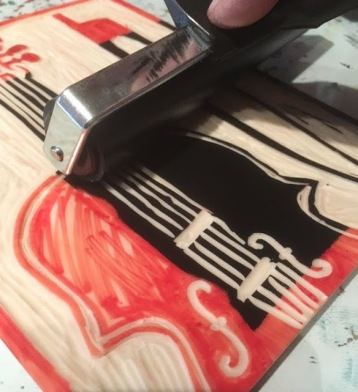 Linoprinting with soft cut lino and waterbased inks.