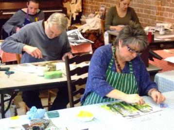 Mixed Media workshop in the studio, South Norfolk.